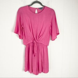 Good Luck Gem Pink Tie Front Crinkle Fabric Short Sleeve Romper Size XS
